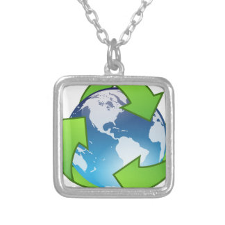Crystal Earth Cycle of Life Silver Plated Necklace