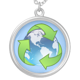 Crystal earth globe recycle icon silver plated necklace