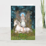 "Crystal Fairy & Unicorn Card<br><div class=""desc"">Crystal Fairy and Unicorn Greetings Card. A beautiful mythical and magical Wicca Pagan themed greetings card ideal for any special occasion. An original and unique design by N K Townsend for Magical Artz</div>"