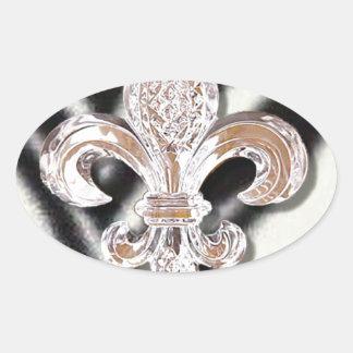 Crystal Fleur De Lis New Orleans Mardi Gras Zebra Oval Sticker