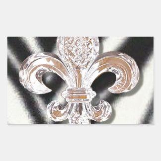 Crystal Fleur De Lis New Orleans Mardi Gras Zebra Rectangular Sticker
