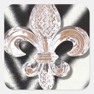 Crystal Fleur De Lis New Orleans Mardi Gras Zebra Square Sticker