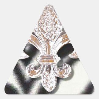 Crystal Fleur De Lis New Orleans Mardi Gras Zebra Triangle Sticker