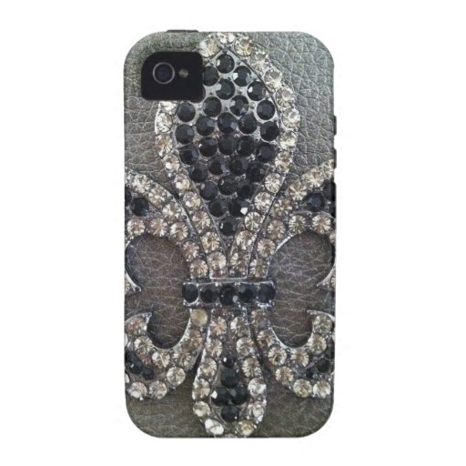 CRYSTAL FLEUR DE LIS ON LEATHER LOOK PRINT iPhone 4/4S CASES