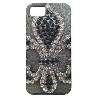 CRYSTAL FLEUR DE LIS ON LEATHER LOOK PRINT iPhone SE/5/5s CASE