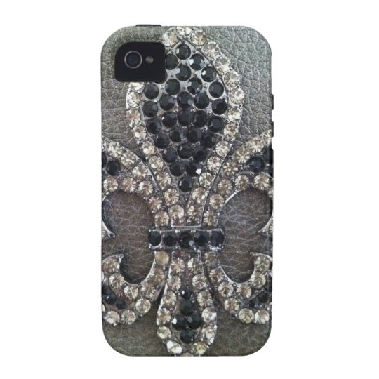 CRYSTAL FLEUR DE LIS ON LEATHER LOOK PRINT VIBE iPhone 4 COVER