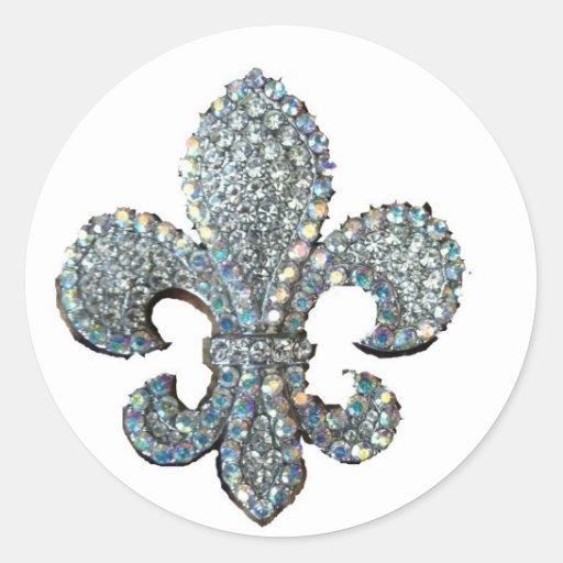 Crystal Fleur De Lis Classic Round Sticker Zazzle