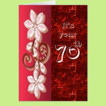 Crystal flower 70th birthday card template