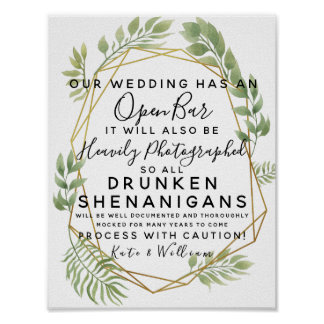 Crystal foliage greenery Open Bar wedding sign