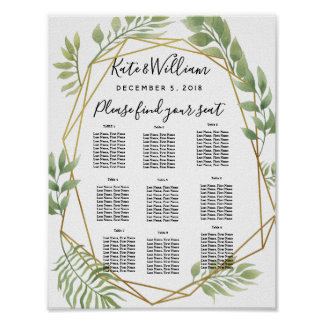 crystal Foliage greenery  Table plan party/wedding Poster