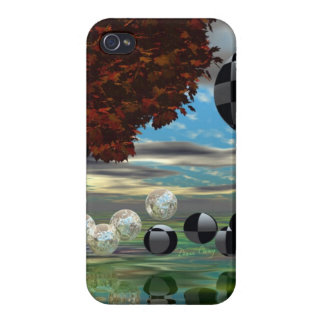 Crystal Garden, Abstract Green Gold Light iPhone 4/4S Case