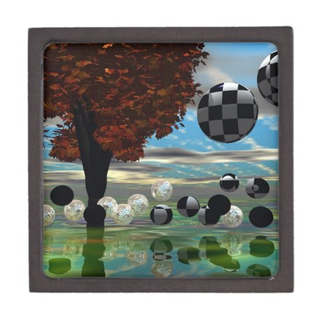 Crystal Garden, Abstract Green Gold Light Jewelry Box