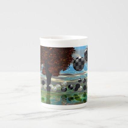 Crystal Garden, Abstract Green Gold Light Bone China Mug