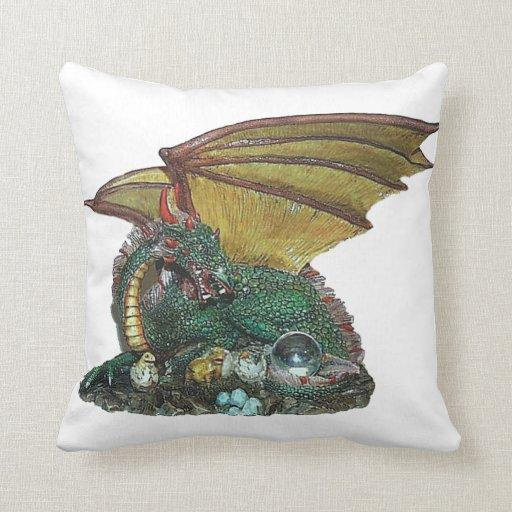 Crystal Gazer Dragon Throw Pillows