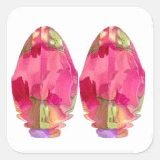 Crystal Gem : RedRose PinkRose based Art Square Sticker