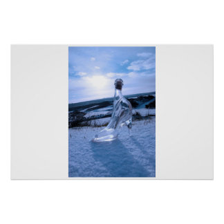 crystal glass high heels on blue snowy golf course poster