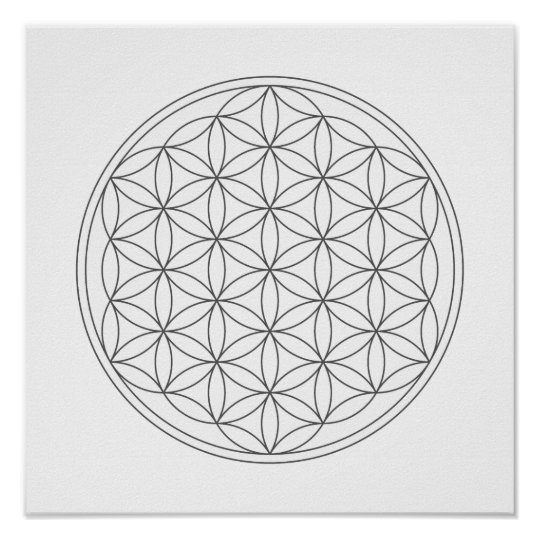 crystal grid flower of life poster zazzle com
