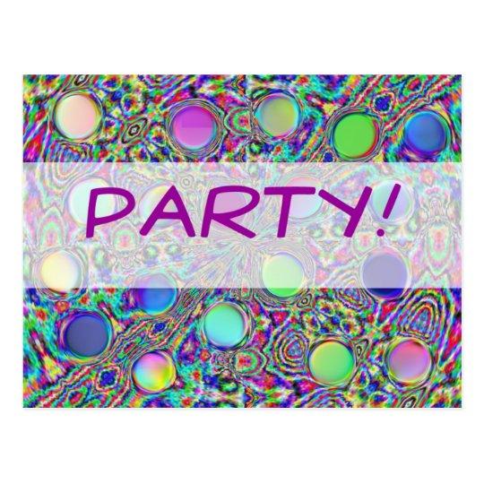 Crystal Groovy Polka Dot Party Invitation Postcard