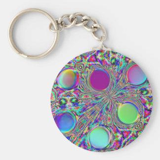 Crystal Groovy Polka Dots Basic Round Button Keychain