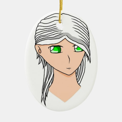 Crystal Head Double-Sided Oval Ceramic Christmas Ornament