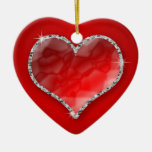 Crystal Heart Double-Sided Heart Ceramic Christmas Ornament