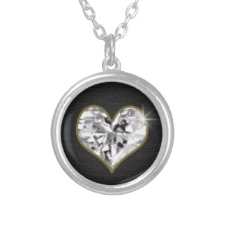 crystal heart, jewel of love silver plated necklace
