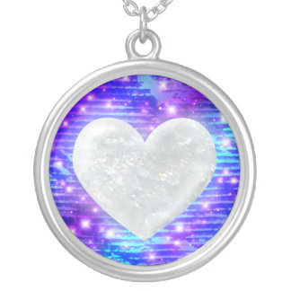 Crystal Heart on Cyan, Blue, Indigo, & Purple Silver Plated Necklace