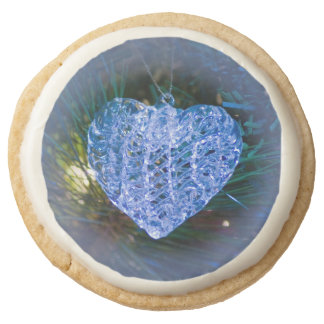 Crystal Heart Ornament Round Premium Shortbread Cookie