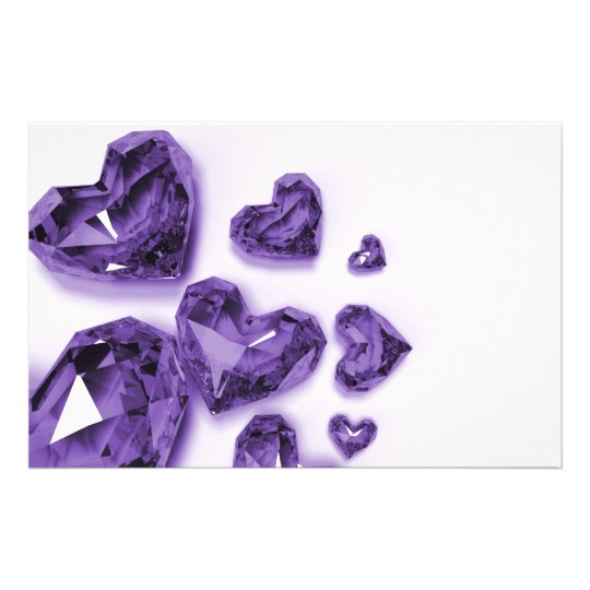 Crystal Hearts - Purple Stationery