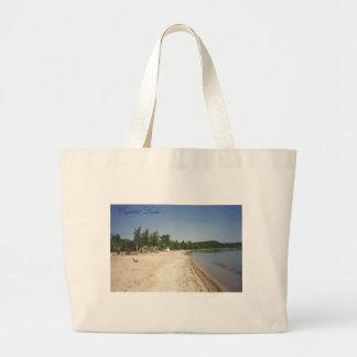 Crystal Lake, MI Large Tote Bag