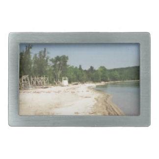 Crystal Lake, MI Rectangular Belt Buckle