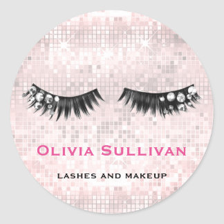 crystal lashes makeup artist on faux pink sequin classic round sticker