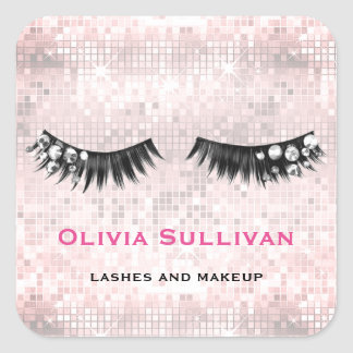 crystal lashes makeup artist on faux pink sequin square sticker