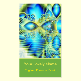 Crystal Lime Turquoise Heart of Love, Abstract Double-Sided Standard Business Cards (Pack Of 100)