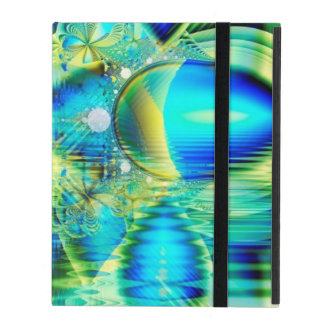 Crystal Lime Turquoise Heart of Love, Abstract iPad Folio Case