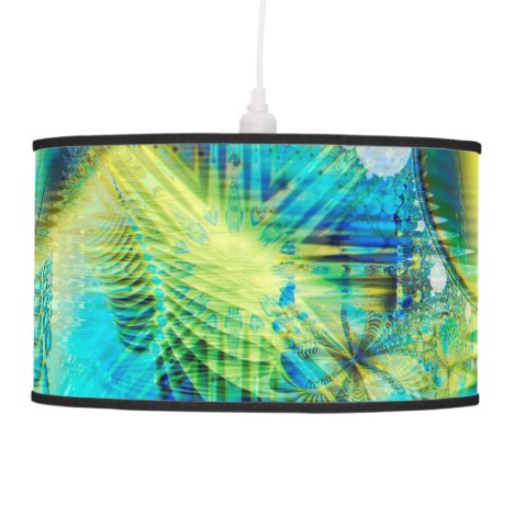 Crystal Lime Turquoise Heart of Love, Abstract Pendant Lamp