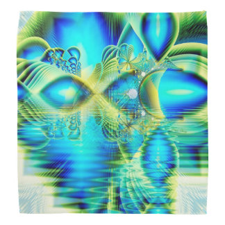 Crystal Lime Turquoise Heart of Love, Abstract Bandannas