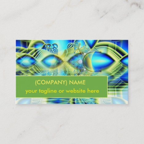 Crystal Lime Turquoise Heart of Love Fractal Business Card