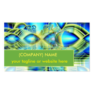 Crystal Lime Turquoise Heart of Love Fractal Double-Sided Standard Business Cards (Pack Of 100)