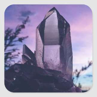 crystal lovers square sticker