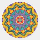"""Crystal Mandala Quilt"" Classic Round Sticker"