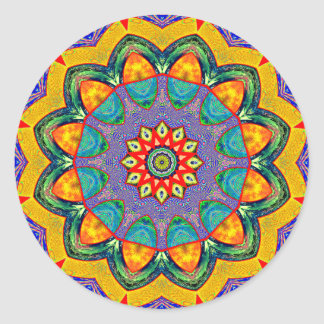 """Crystal Mandala Quilt"" Classic Round Sticker"