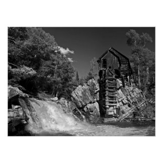 Crystal Mill poster, black and white