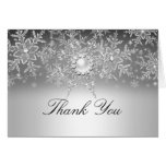 Crystal Pearl Snowflake Silver Thank You Card