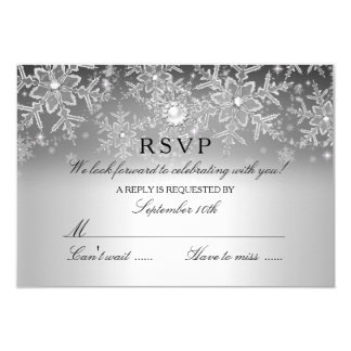 Crystal Pearl Snowflake Silver Winter RSVP Card