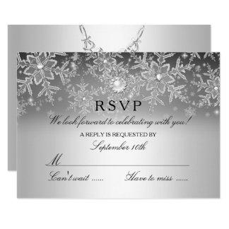 Crystal Pearl Snowflake Silver Winter RSVP Invitation