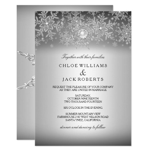 Crystal Pearl Snowflake Silver Winter Wedding Invitation