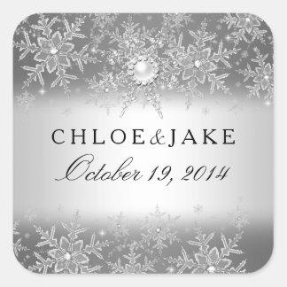 Crystal Pearl Snowflake Silver Winter Wedding Square Sticker