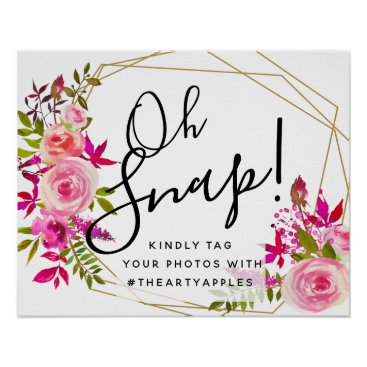 Art Themed crystal Pink Peach  oh snap wedding sign hashtag
