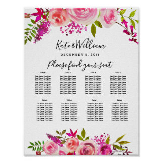 crystal Pink Peach Roses  Table plan party/wedding Poster